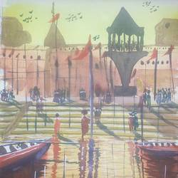 baranasi ghat, 16 x 11 inch, satyabrata parhi,religious paintings,paintings for living room,thick paper,watercolor,16x11inch,GAL011633954