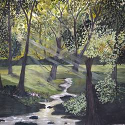 forest nature, 11 x 14 inch, pinki saha,11x14inch,drawing paper,paintings,landscape paintings,nature paintings | scenery paintings,acrylic color,paper,GAL02786539541