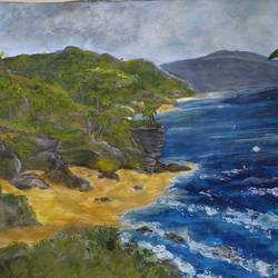 beach and mountain, 11 x 14 inch, pinki saha,11x14inch,drawing paper,paintings,landscape paintings,nature paintings | scenery paintings,acrylic color,paper,GAL02786539542