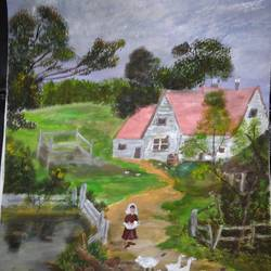 farm painting, 11 x 14 inch, pinki saha,11x14inch,drawing paper,paintings,landscape paintings,nature paintings | scenery paintings,acrylic color,paper,GAL02786539543