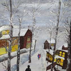 snow covered houses, 17 x 12 inch, pinki saha,17x12inch,drawing paper,paintings,landscape paintings,nature paintings | scenery paintings,acrylic color,paper,GAL02786539545