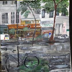a busy rainy day in italy, 17 x 12 inch, pinki saha,17x12inch,drawing paper,paintings,cityscape paintings,nature paintings | scenery paintings,acrylic color,paper,GAL02786539547