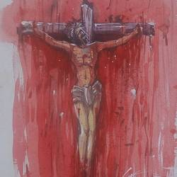 jesus, 11 x 16 inch, satyabrata parhi,religious paintings,paintings for living room,thick paper,watercolor,11x16inch,GAL011633955