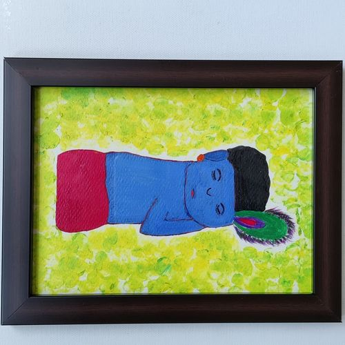 ball krishna, 10 x 8 inch, niharika girnar,10x8inch,thick paper,paintings,figurative paintings,religious paintings,paintings for dining room,paintings for living room,paintings for bedroom,paintings for office,paintings for bathroom,paintings for kids room,paintings for hotel,paintings for kitchen,paintings for school,acrylic color,GAL02793739553