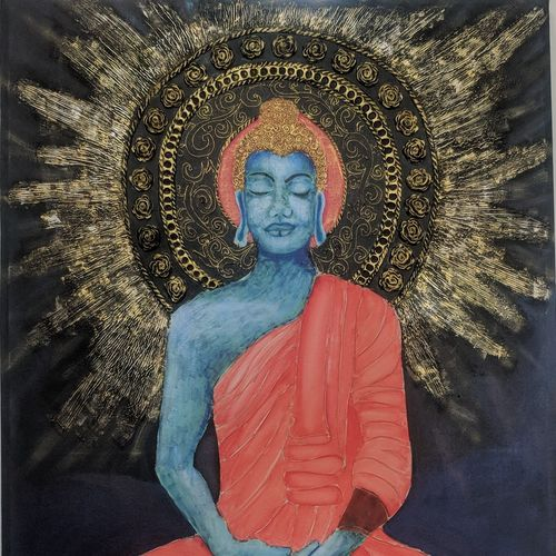 buddha with rays, 48 x 60 inch, simran  asrani ,48x60inch,canvas board,paintings,buddha paintings,figurative paintings,photorealism,paintings for dining room,paintings for living room,paintings for bedroom,paintings for office,paintings for kids room,paintings for hotel,paintings for school,paintings for hospital,acrylic color,mixed media,oil color,GAL02796239554