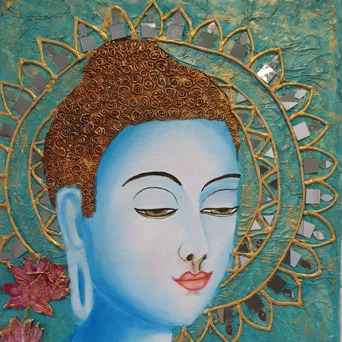 buddha in mixmedia , 20 x 30 inch, simran  asrani ,20x30inch,canvas,paintings,buddha paintings,flower paintings,portrait paintings,paintings for dining room,paintings for living room,paintings for bedroom,paintings for office,paintings for kids room,paintings for hotel,paintings for kitchen,paintings for school,paintings for hospital,acrylic color,mixed media,oil color,glass,marble,GAL02796239555