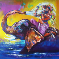 bal ganesh  1, 33 x 30 inch, deepak sutar,conceptual paintings,religious paintings,paintings for living room,expressionist paintings,ganesha paintings,canvas,acrylic color,33x30inch,GAL012823956,vinayak,ekadanta,ganpati,lambodar,peace,devotion,religious,lord ganesha,lordganpati,ganpati,ganesha,lord ganesh,elephant god,religious,ganpati bappa morya,mouse,elephant,water,bathing,bal ganesh