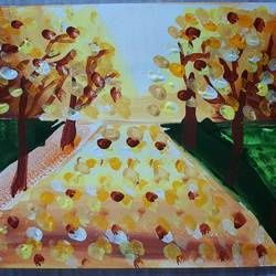 walk through nature, 6 x 8 inch, sailaja kasturi,6x8inch,thick paper,paintings,modern art paintings,nature paintings   scenery paintings,paintings for living room,paintings for office,acrylic color,paper,GAL02796939568