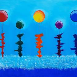 balloons and bonding , 31 x 23 inch, srinu badri,31x23inch,canvas,paintings,abstract paintings,modern art paintings,paintings for living room,paintings for bedroom,paintings for office,paintings for school,acrylic color,GAL01289939569