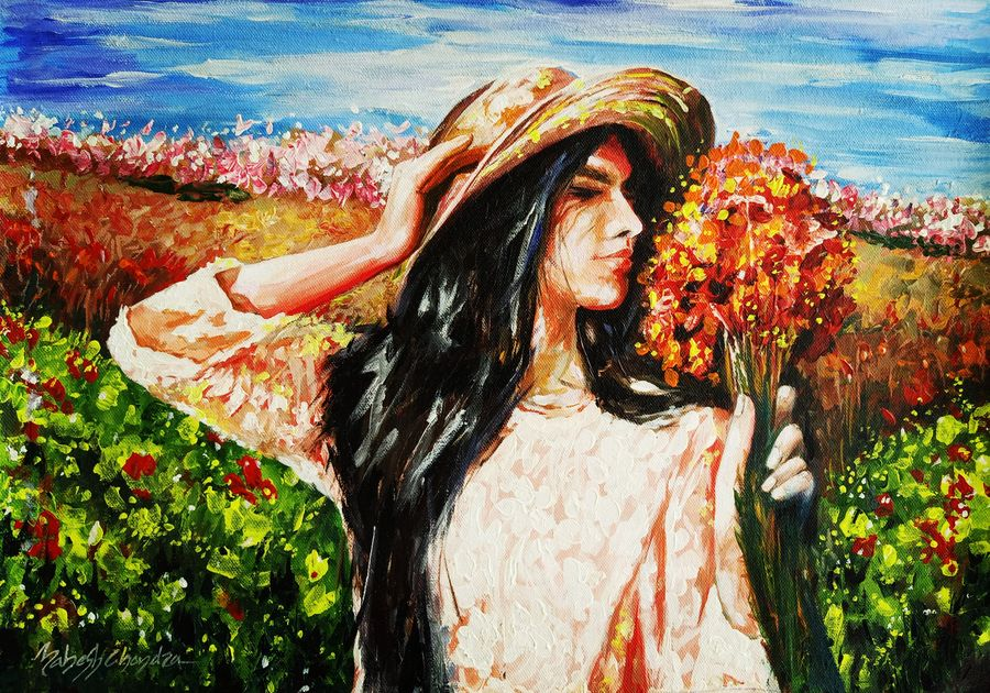 pretty girl holding beautiful flower stock, 19 x 14 inch, mahesh chandra,19x14inch,canvas,paintings,abstract paintings,flower paintings,nature paintings | scenery paintings,paintings for dining room,paintings for living room,paintings for office,paintings for hotel,acrylic color,GAL02799239571