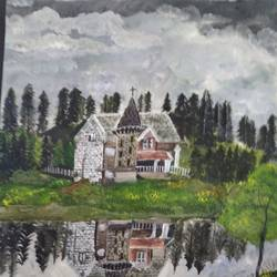 castle in the jungle, 17 x 12 inch, pinki saha,17x12inch,drawing paper,paintings,landscape paintings,nature paintings | scenery paintings,acrylic color,paper,GAL02786539573