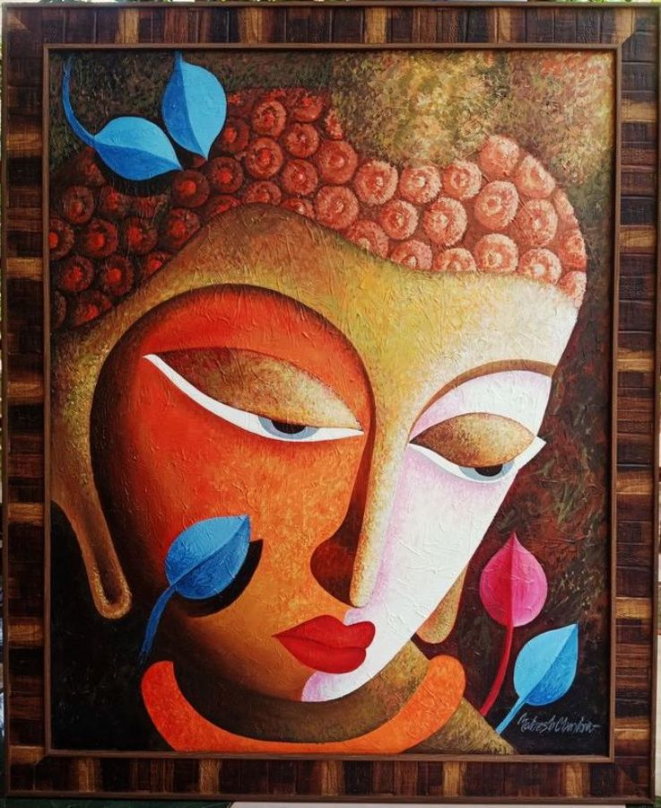 budha, 24 x 30 inch, mahesh chandra,24x30inch,canvas,paintings,abstract paintings,buddha paintings,modern art paintings,religious paintings,paintings for living room,paintings for office,paintings for school,acrylic color,GAL02799239577