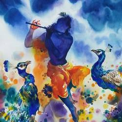 krishna 1, 14 x 21 inch, deepak sutar,conceptual paintings,paintings for living room,paintings for bedroom,expressionist paintings,radha krishna paintings,bockingford paper,watercolor,14x21inch,krishna,love,lord,flute,peacock,religious,music,GAL012823958,krishna,Lord krishna,krushna,radha krushna,flute,peacock feather,melody,peace,religious,god,love,romance