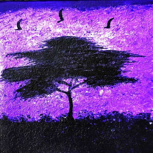 twilight tree nature landscape painting, 6 x 8 inch, shruti vishnoi,6x8inch,canvas,paintings,landscape paintings,nature paintings | scenery paintings,minimalist paintings,contemporary paintings,paintings for dining room,paintings for living room,paintings for bedroom,paintings for office,paintings for bathroom,paintings for kids room,paintings for hotel,paintings for kitchen,paintings for school,paintings for hospital,acrylic color,GAL02800639580