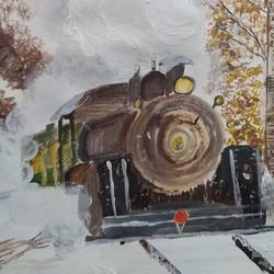 train in the snow, 17 x 12 inch, pinki saha,17x12inch,drawing paper,paintings,landscape paintings,nature paintings | scenery paintings,acrylic color,paper,GAL02786539595