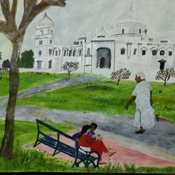 couple in victoria memorial, kolkata, 17 x 12 inch, pinki saha,17x12inch,drawing paper,paintings,landscape paintings,nature paintings | scenery paintings,acrylic color,paper,GAL02786539596