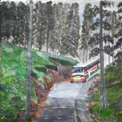 traveling by bus in the hills, 17 x 12 inch, pinki saha,17x12inch,drawing paper,paintings,landscape paintings,nature paintings | scenery paintings,acrylic color,paper,GAL02786539597