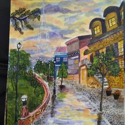 rainy day painting of paris, 17 x 12 inch, pinki saha,17x12inch,drawing paper,paintings,landscape paintings,nature paintings | scenery paintings,acrylic color,paper,GAL02786539598