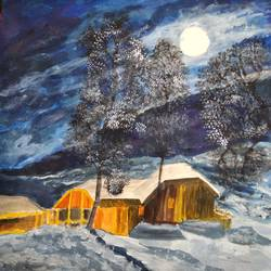 moonlit snowy mountains, 17 x 12 inch, pinki saha,17x12inch,drawing paper,paintings,landscape paintings,nature paintings | scenery paintings,acrylic color,paper,GAL02786539599