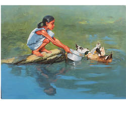 feeding the ducks, 48 x 36 inch, satyabrata karmakar,figurative paintings,paintings for living room,canvas,acrylic color,48x36inch,GAL0168396