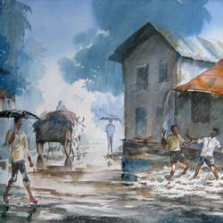 monsoon 1, 22 x 15 inch, deepak sutar,conceptual paintings,paintings for living room,expressionist paintings,fabriano sheet,watercolor,22x15inch,GAL012823960