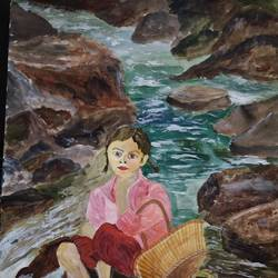little girl in the river, 17 x 12 inch, pinki saha,17x12inch,drawing paper,paintings,landscape paintings,nature paintings | scenery paintings,acrylic color,paper,GAL02786539600