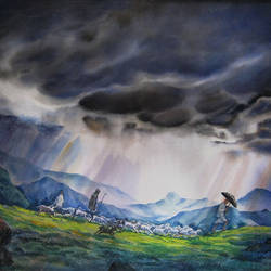 monsoon 2, 28 x 21 inch, deepak sutar,conceptual paintings,nature paintings,paintings for living room,expressionist paintings,fabriano sheet,watercolor,28x21inch,GAL012823961Nature,environment,Beauty,scenery,greenery,monsoon,clouds,rainy,dark clouds,land,trees,leaves,beautiful