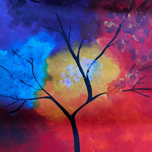 colorful tree, 12 x 17 inch, simran solkar,12x17inch,canvas,paintings,abstract paintings,flower paintings,paintings for dining room,paintings for living room,paintings for office,acrylic color,GAL02750639615