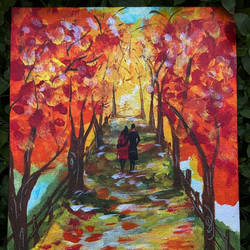autumn walk, 10 x 12 inch, simran solkar,10x12inch,canvas,paintings,landscape paintings,nature paintings | scenery paintings,paintings for living room,paintings for bedroom,acrylic color,GAL02750639616