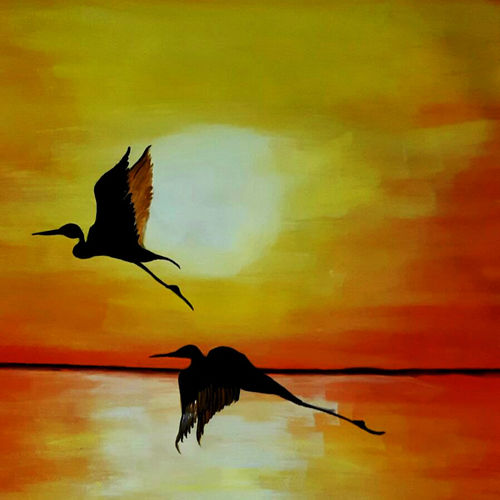 beautiful evening, 12 x 17 inch, simran solkar,12x17inch,canvas,paintings,wildlife paintings,landscape paintings,nature paintings | scenery paintings,paintings for dining room,paintings for living room,acrylic color,GAL02750639618