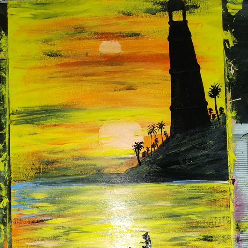 sun moon, 24 x 15 inch, arvind kumar gupta,24x15inch,hardboard,paintings,abstract paintings,landscape paintings,nature paintings | scenery paintings,abstract expressionism paintings,realistic paintings,paintings for dining room,paintings for living room,paintings for bedroom,paintings for office,paintings for hotel,paintings for school,paintings for hospital,acrylic color,wood,GAL02596639619