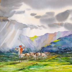 monsoon 3, 35 x 22 inch, deepak sutar,conceptual paintings,nature paintings,paintings for living room,expressionist paintings,fabriano sheet,watercolor,35x22inch,GAL012823962Nature,environment,Beauty,scenery,greenery,monsoon,clouds,rainy,dark clouds,land,trees,leaves,beautiful