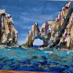 lovers beach in cabo, mexico, 8 x 10 inch, medha dalela,8x10inch,canvas board,paintings,landscape paintings,impressionist paintings,paintings for dining room,paintings for living room,paintings for bedroom,paintings for office,paintings for bathroom,paintings for kids room,paintings for hotel,paintings for kitchen,paintings for school,paintings for hospital,acrylic color,GAL02786739627