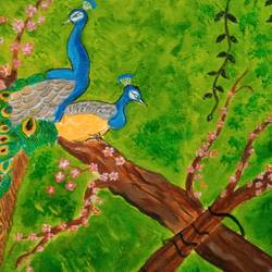 the peacocks, 16 x 16 inch, abhik mahanti,16x16inch,canvas,paintings,wildlife paintings,nature paintings | scenery paintings,acrylic color,GAL0404439630