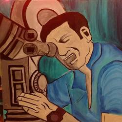 tribute to satyajit ray, 16 x 16 inch, deblina roy,16x16inch,canvas board,paintings,portrait paintings,impressionist paintings,portraiture,paintings for bedroom,acrylic color,GAL02803739632