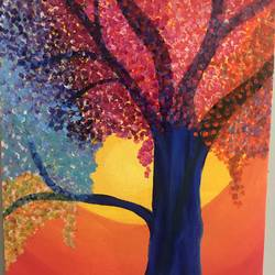 abstract blue tree, 8 x 12 inch, ruchi chandra verma,8x12inch,canvas,paintings,abstract paintings,flower paintings,paintings for dining room,paintings for living room,paintings for bedroom,paintings for office,paintings for kids room,acrylic color,GAL02794539634