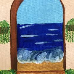 as waves come knocking , 6 x 8 inch, ruchi chandra verma,6x8inch,canvas,paintings,landscape paintings,paintings for living room,paintings for bedroom,paintings for kids room,acrylic color,GAL02794539635