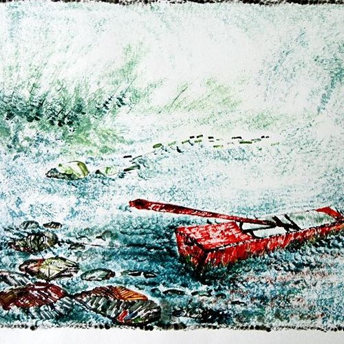 the nature 17, 35 x 28 inch, kankana  pal,nature paintings,paintings for living room,paper,mixed media,35x28inch,GAL08333964Nature,environment,Beauty,scenery,greenery,ice,snow,mountain,trees,leaves,boat
