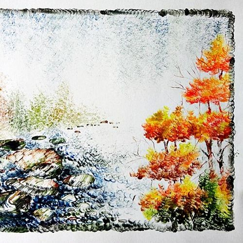 the nature 18, 35 x 28 inch, kankana  pal,nature paintings,paintings for living room,paper,mixed media,35x28inch,GAL08333965Nature,environment,Beauty,scenery,greenery,ice,snow,mountain,trees,leaves