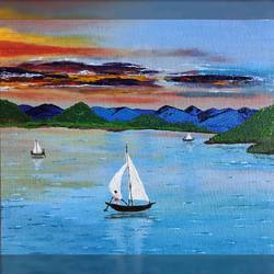 boats with sail before sunset, 10 x 12 inch, madhumita roy,10x12inch,canvas,paintings,nature paintings | scenery paintings,oil color,GAL02759239650
