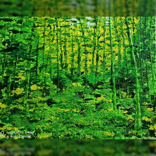 undergrowth, 10 x 12 inch, madhumita roy,10x12inch,canvas,paintings,nature paintings | scenery paintings,oil color,GAL02759239651