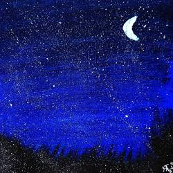 night sky, 6 x 8 inch, shruti vishnoi,6x8inch,canvas,paintings,landscape paintings,nature paintings | scenery paintings,paintings for dining room,paintings for living room,paintings for bedroom,paintings for office,paintings for bathroom,paintings for kids room,paintings for hotel,paintings for kitchen,paintings for school,paintings for hospital,acrylic color,GAL02800639654