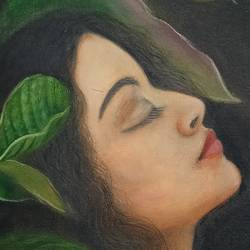 beauty in nirvana, 15 x 20 inch, giridharan p,15x20inch,canvas,portrait paintings,paintings for living room,paintings for bedroom,paintings for living room,paintings for bedroom,oil color,GAL02788139656