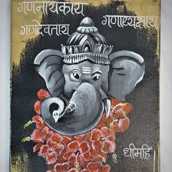 ganesha acrylic painting, 12 x 16 inch, priyanka chaudhari,12x16inch,canvas,paintings,ganesha paintings | lord ganesh paintings,paintings for dining room,paintings for living room,paintings for office,paintings for dining room,paintings for living room,paintings for office,acrylic color,GAL02808539659