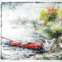 the nature 19, 35 x 28 inch, kankana  pal,nature paintings,paintings for living room,paper,mixed media,35x28inch,GAL08333966Nature,environment,Beauty,scenery,greenery,ice,snow,mountain,trees,leaves,boat