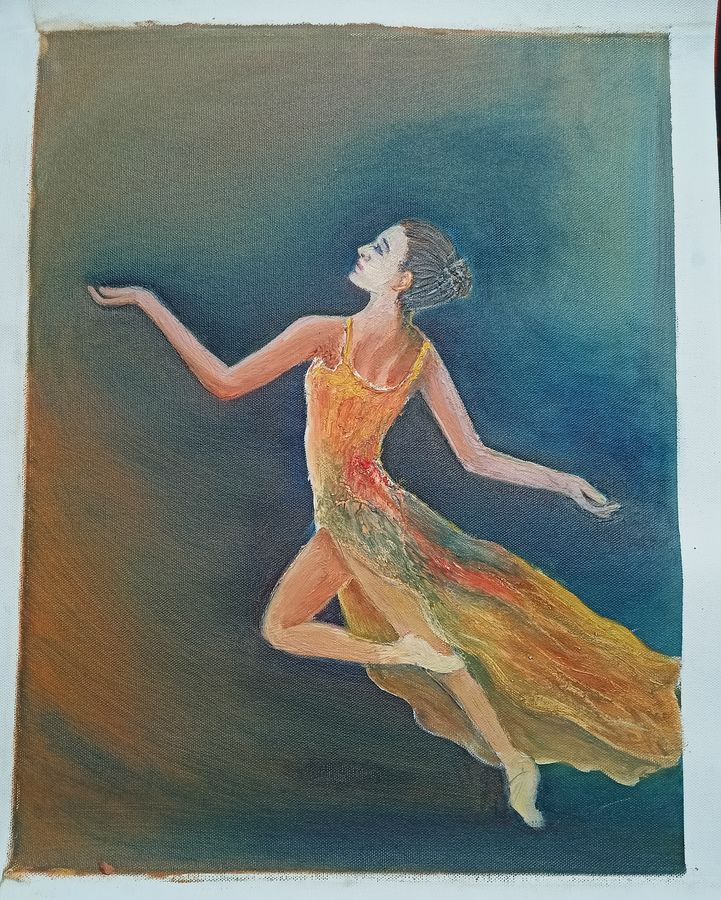 ballet girl, 14 x 18 inch, giridharan p,14x18inch,canvas,paintings,figurative paintings,paintings for dining room,paintings for living room,paintings for bedroom,paintings for bathroom,paintings for hotel,oil color,GAL02788139662