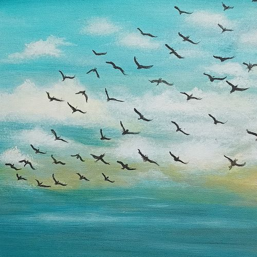 flyback home, 11 x 16 inch, giridharan p,11x16inch,canvas,paintings,nature paintings | scenery paintings,paintings for dining room,paintings for living room,paintings for bedroom,paintings for hotel,acrylic color,GAL02788139668