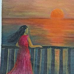 sunset, 11 x 16 inch, giridharan p,11x16inch,canvas,paintings,nature paintings | scenery paintings,paintings for living room,paintings for bedroom,acrylic color,GAL02788139669