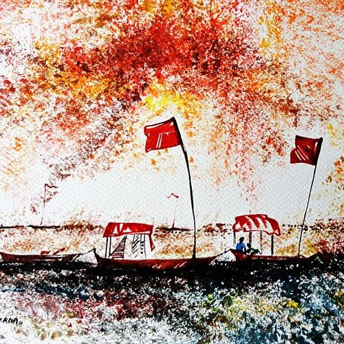 the boat, 12 x 9 inch, kankana  pal,nature paintings,paintings for living room,paper,mixed media,12x9inch,GAL08333967Nature,environment,Beauty,scenery,greenery,trees,water,beautiful,flag,boat