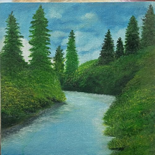 flowing, calm, 14 x 18 inch, giridharan p,14x18inch,canvas board,paintings,nature paintings | scenery paintings,paintings for dining room,paintings for living room,paintings for bedroom,paintings for office,paintings for hotel,paintings for hospital,acrylic color,GAL02788139671